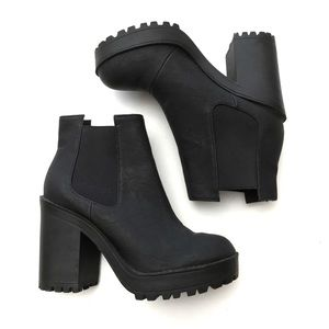 H&M Faux Leather Lug Sole Chelsea Ankle Boots